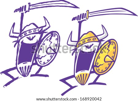 Crazy Viking Two abstract cartoon Vikings swinging a sword. One is rendered loosely and the other is cleaned up. Layered vector file. - stock vector