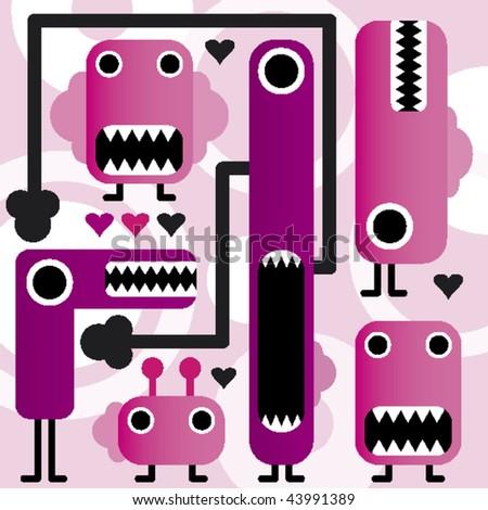 crazy weird freaky monsters in vector - stock vector