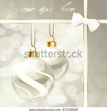 Cream-colored banner with Christmas ornaments (eps10);  jpg version also available - stock vector