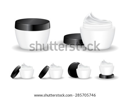 Cream jar isolated on white background. Skin care product package, vector illustration.
