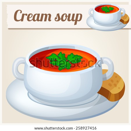 Cream soup. Detailed Vector Icon. Series of food and drink and ingredients for cooking. - stock vector