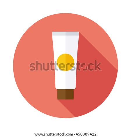 Cream tube flat icon with long shadow - stock vector