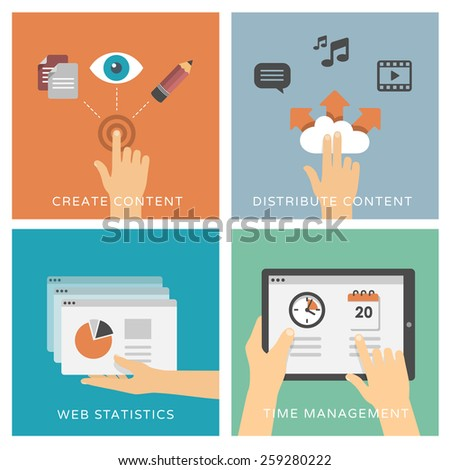 Create and distribute content too media, web analytics & time management - set of flat design illustrations / icons - stock vector