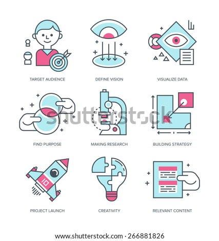 Create brand icons. Modern line icons with flat design elements of creating, building brand, define business strategy, mission, starting new business. Linear style icons logo vector illustration - stock vector
