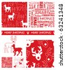 Create Christmas gift wrap using these contemporary Reindeer repeat patterns and swatches. - stock photo