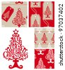 Create Christmas projects using these fun vector repeat patterns and Xmas tree. - stock vector