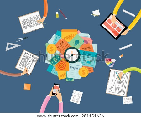 create to business project workspace and work pressing concept - stock vector