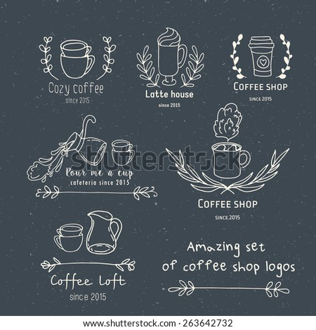 Create your own hand drawn coffee shop unique logo.Doodle vintage stylish signs. - stock vector