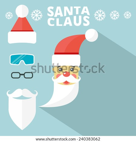 Create your own hipster Santa. Vector Illustration. Flat Design. - stock vector