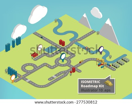 Create your own Isometric road map using these comic style design elements for a traffic road map with cars, houses, river, boat and orientation signs, Harbor, crane and container trucks - stock vector