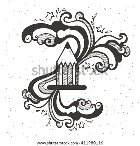 Creation idea. Hand-drawn pencil with lines. Creativity and inspiration process. - stock vector