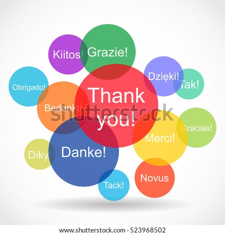 Creative abstract color vector illustration of the set of Thank you texts in different languages in colorful circles on white background