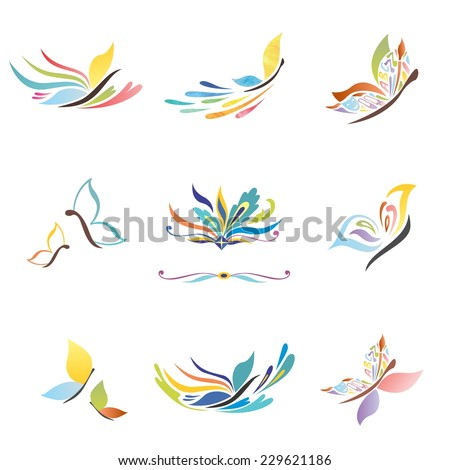 Creative abstract colorful icons for identity and design - stock vector