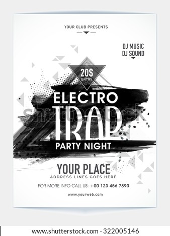 Creative abstract design decorated, Template, Banner or Flyer for Electro Trap Party Night celebration. - stock vector
