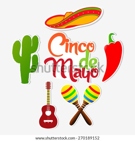 Creative abstract for Cinco De Mayo with multiple object like Mexican hat, chilli, guitar, cactus etc. in a nice and beautiful white colour background. - stock vector