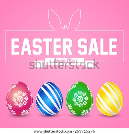 Creative Abstract for Easter Sale with multicoloured and multi pattern eggs in a pink colour background.     - stock vector