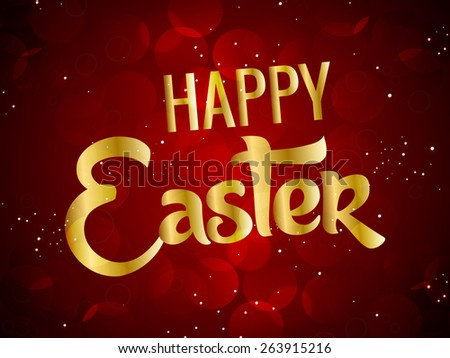 Creative Abstract for Happy Easter with nice golden text in a beautiful and sparkling red colour in a background.  - stock vector
