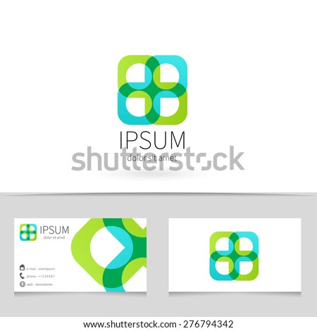 Creative abstract looped ribbon logo design with business card template. Trendy concept logotype for your company. Vector illustration. - stock vector