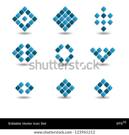 Creative abstract modern icon set with square - stock vector