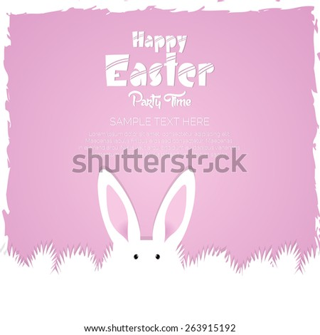 Creative abstract or flyer for Happy Easter with beautiful bunny in a beautiful pink colour background.  - stock vector
