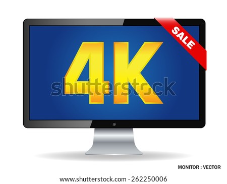 Creative abstract ultra high definition digital television screen technology concept: 4K TV or computer PC monitor display isolated on white background with reflection effect - stock vector