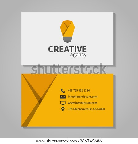 Creative agensy business card template with light bulb. Element corporation, visit and phone number, address. Vector illustration - stock vector