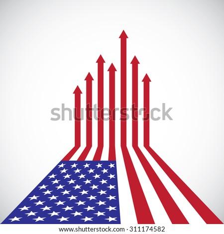 Creative American Flag, red arrows, vector - stock vector