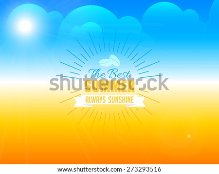 Creative and beautiful abstract for Summer Holidays with nice and beautiful blue colour cloudy sky with yellow colour land in background. - stock vector