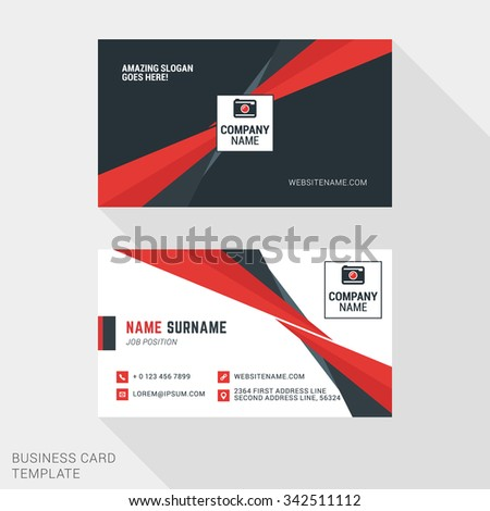 Creative and Clean Business Card Template in Red and Black Colors with Abstract Element. Flat Style Vector Illustration - stock vector