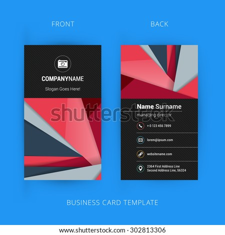Creative and Clean Business Card Template with Material Design Abstract Colorful Background - stock vector