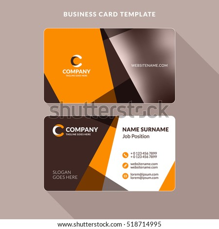 Creative Clean Doublesided Business Card Template Stock Vector - Double sided business card template