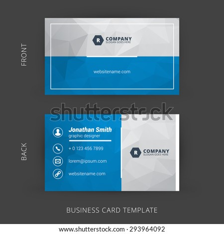 Creative Clean Vector Business Card Template Stock Vector 293964092 ...