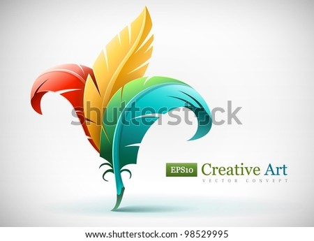 creative art concept with color red yellow and blue feathers. Vector illustration EPS10. Transparent objects used for shadows and lights drawing. - stock vector