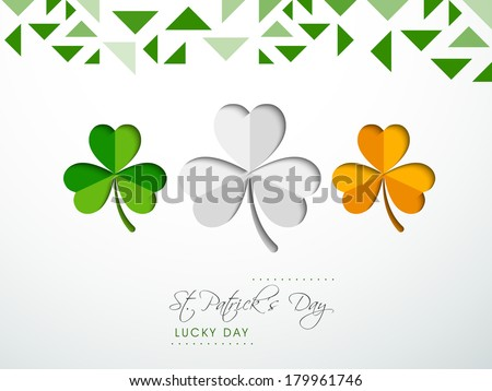 Creative background for Happy St. Patrick's Day celebrations with beautiful Irish lucky shamrock leaves in green, white and orange colour.  - stock vector
