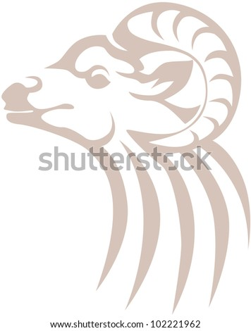 Creative Bighorn Sheep Illustration - stock vector