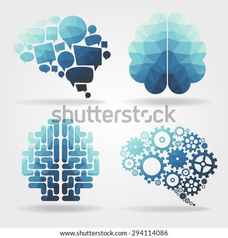 creative blue brain polygon vector - stock vector