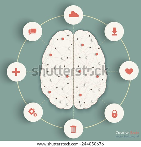 Creative brain concept. Eps10 vector for your design. - stock vector