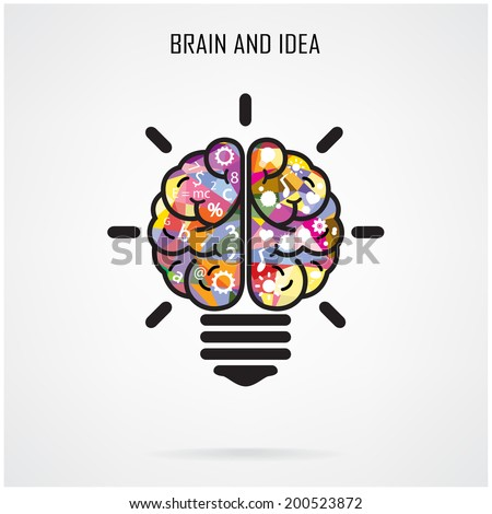 Creative brain Idea and light bulb concept, design for poster flyer cover brochure, business idea, education concept.vector illustration - stock vector