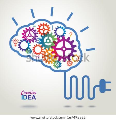 Creative Brain Idea concept background. - stock vector