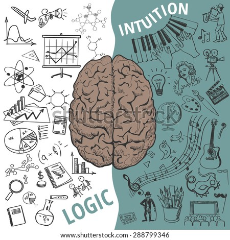 Creative brain Idea. Vector concept. Left and right brain functions,Human brain concept - stock vector