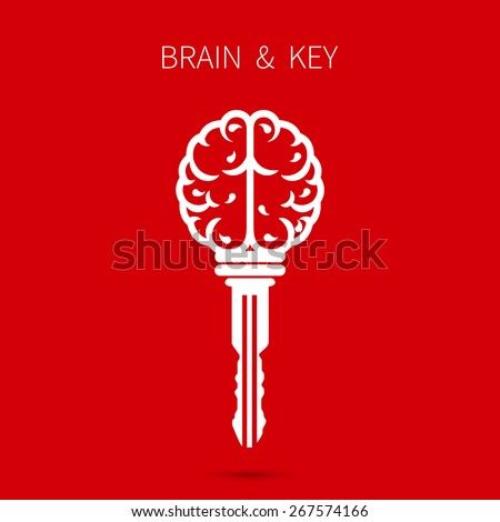 Creative brain sign with key symbol. Key of success. Business and education idea concept. Vector illustration. - stock vector