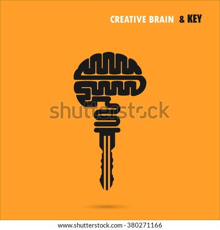 Creative brain sign with key symbol. Key of success.Concept of ideas inspiration, innovation, invention, effective thinking and knowledge. Business and education idea concept. Vector illustration. - stock vector