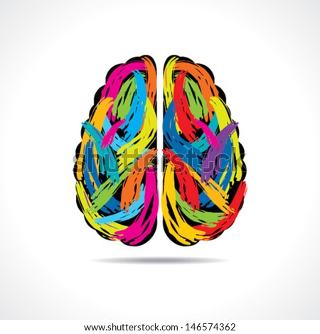 Creative brain with paint strokes stock vector - stock vector
