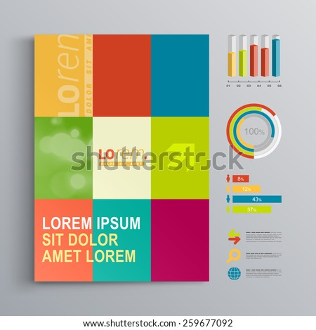 Creative brochure template design with color shapes. Cover layout and infographics - stock vector