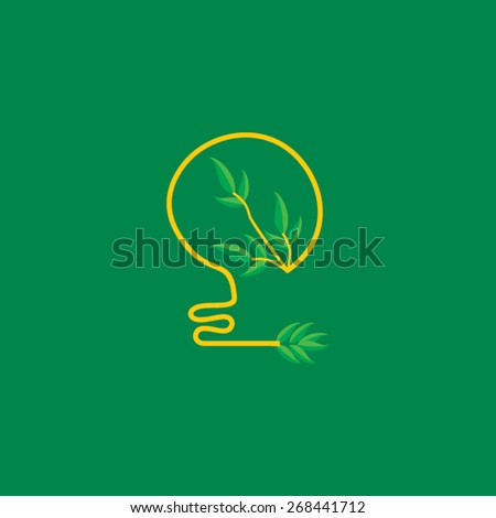 creative bulb connected with green leaf  - stock vector