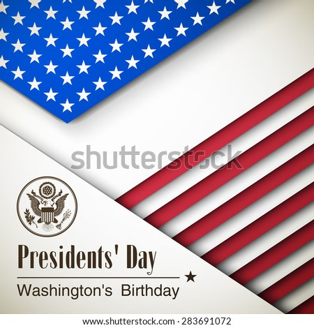 Creative bunner Happy Presidents' Day,vector Illustration USA Independence Day. Card With Abstract Flag  - stock vector