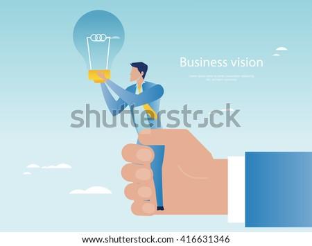 Creative business. Businessman holding light bulb - stock vector
