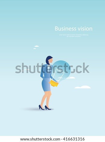 Creative business. Businesswoman holding light bulb  - stock vector