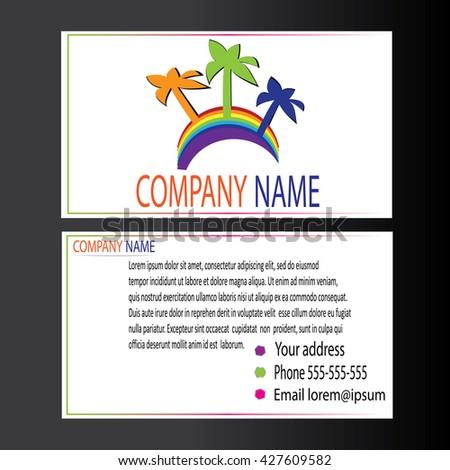 Creative business card template palm trees stock vector 427609582 creative business card template with palm trees and rainbow image flat design vector illustration colourmoves