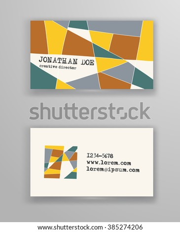 Creative business card templates with geometric design. Abstract color  blank. Vector Illustration. - stock vector